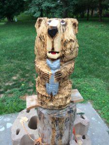 Chainsaw Bear with Fish by Bob Ward - Colony Carvers - Amana, Iowa