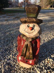 Chainsaw Snowman - Amana, Iowa - Carving by Bob Ward - Colony Carvers