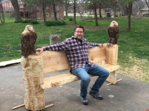 Bob Ward (Amana, Iowa) - Chainsaw Carving - Eagle Bench - 1200x900