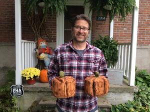 Bob Ward with Pumpkin Chainsaw Carvings - Amana, Iowa - 1200x900