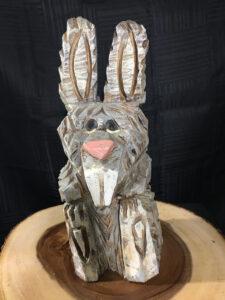 Bunny Chainsaw Carving by Bob Ward - Colony Carvers - Amana, Iowa - 900x1200