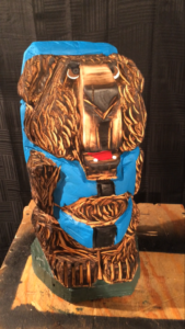 Chainsaw Hiking Bear with Blue Backpack - Carved by Bob Ward - Colony Carvers - Amana, Iowa