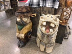 Cowboy and Hippo - Chainsaw Carving by Bob Ward - Amana, Iowa - 960x720