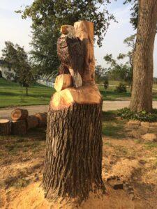 Eagle Chainsaw Carving Onsite by Bob Ward, Amana, Iowa