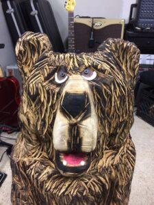 Happy Bear Chainsaw Carving by Bob Ward - Amana, Iowa