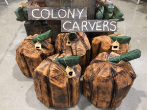 Oak Pumpkins - Chainsaw Carving by Bob Ward - Colony Carvers - 1200x900
