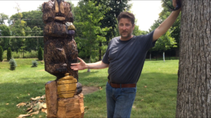 Onsite Chainsaw Bear with Honey Pot and Bee - Carving by Bob Ward - Amana, Iowa