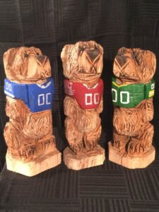 Small Football Bears - Chainsaw Carvings