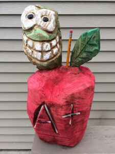 Teacher Gift - Chainsaw Carved Apple with Worm - by Bob Ward - Colony Carvers - Amana, Iowa
