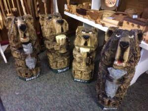 Thirsty and Hungry Bears - Chainsaw Carvings by Bob Ward - Colony Carvers - Amana, Iowa